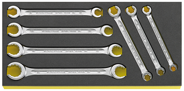 Stahlwille 96838758 Double opend ring wrench set TCS 24//7 7pcs. 8x10-19x22 mm
