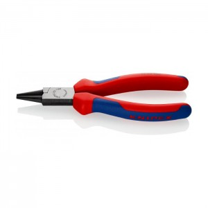 Round Nose Pliers black atramentized with multi-component grips 160 mm