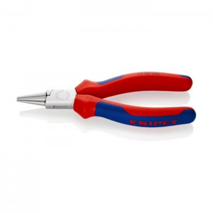 Round Nose Pliers chrome plated with multi-component grips 140 mm