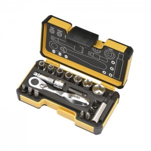 "Felo 5771806 Tool set XS 18 1/4"" with mini ratchet, bits, sockets and accessories, 18-pce"