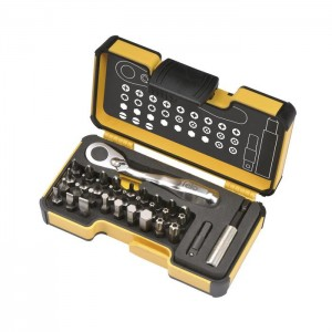 "Felo 5773306 Tool set XS 33 1/4"" with mini ratchet, bits and acessories, 33-pce"