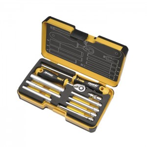"Felo 5781006 Tool set R-GO M-Tec 1/4"" with ERGONIC ratchet, M-Tec nut drivers and Adapters 10-pce"