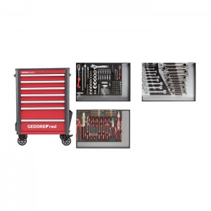 GEDORE-RED Tool set in w.trolley WINGMAN red 129pcs (3301694)