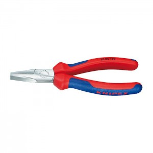 Flat Nose Pliers chrome plated with multi-component grips 140 mm