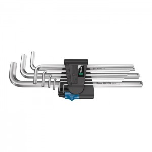 Wera 950/9 L Hex-Plus HF 1 L-key set, metric, chrome-plated, with holding function, 9 pieces (05022130001)