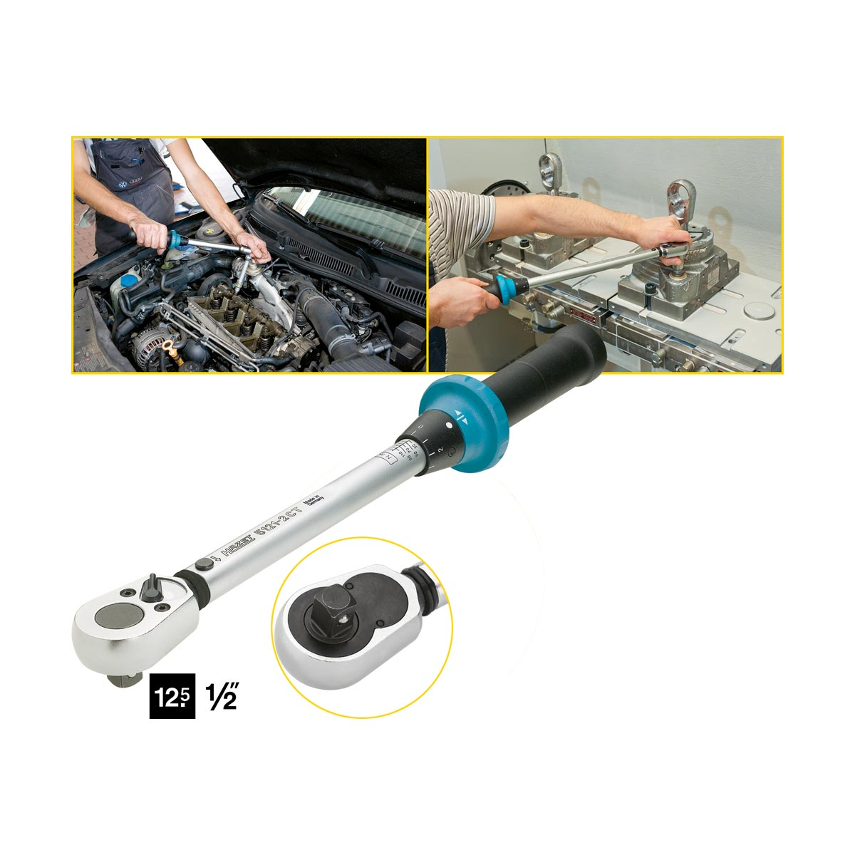 HAZET 5121-2CT Torque wrench with ratchet, 20 - 120 Nm