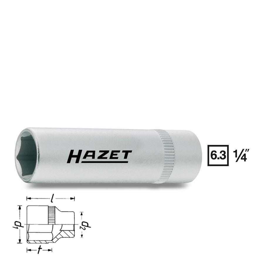 HAZET 6point socket long 850Lg, size 4 - 13 mm