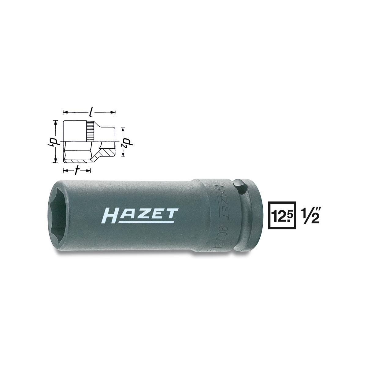 HAZET Impact 6point socket 902SLg, size 17 - 19 mm
