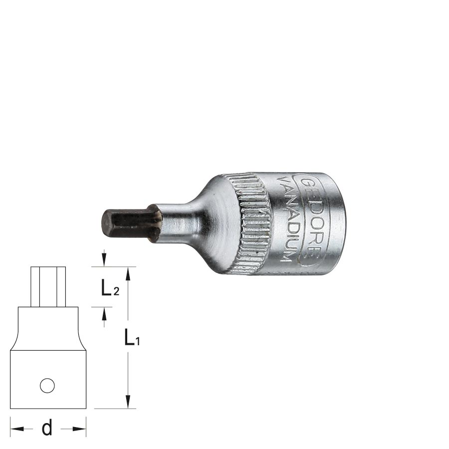 GEDORE Screwdriver socket IN 20, size 2 - 8 mm