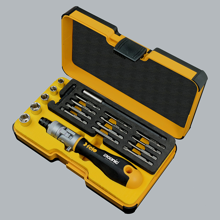 Felo 06072056 Ergonic K II box with ratchet, sockets, bits, 20pcs.